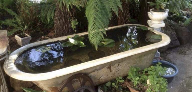 Recycled Bath to pond